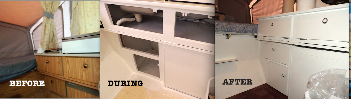 Pop up camper redo painting interior before after step for Camper kitchen cabinets